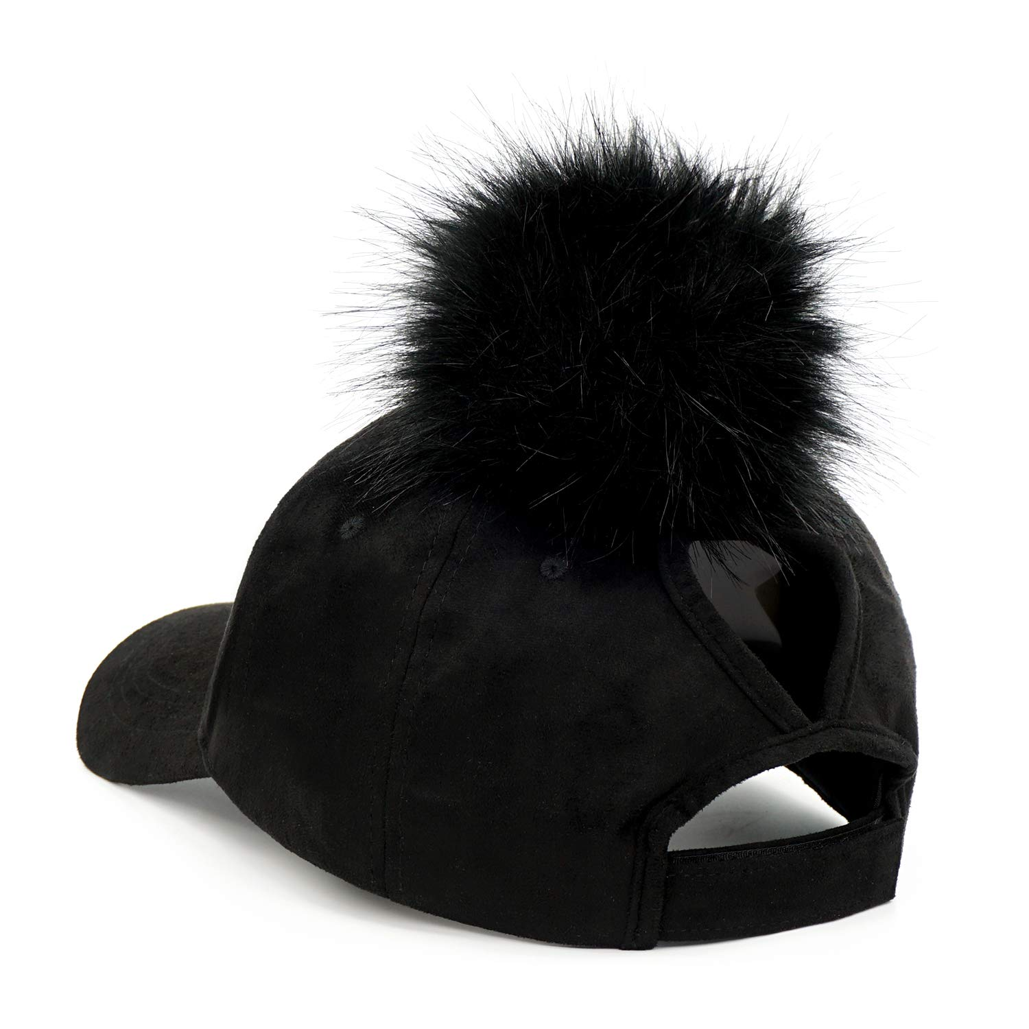 657144a44 B.J Ladies Adjustable Suede Baseball Cap Hip-Hop Hat Faux Fur Pom ...