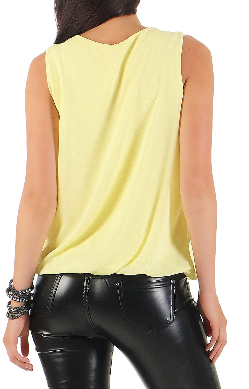 Malito dam blus ärmlös   tunika med rund hals   lätt blusskjorta   elegant – tröja 6879 GUL