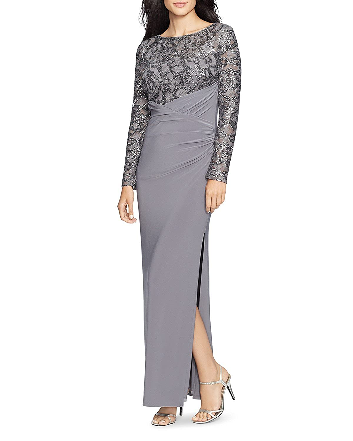 81950e52d0423 Lauren Ralph Lauren Women's Sequin Lace Jersey Gown in Silver/Dark Gray  (10) at Amazon Women's Clothing store: