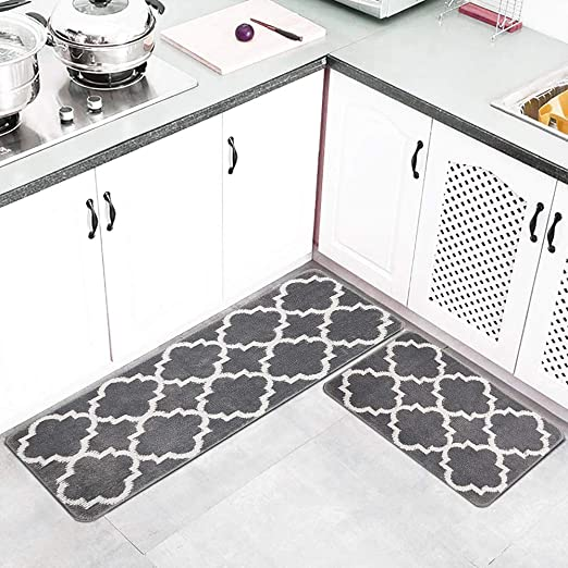 HEBE Kitchen Rug Set of 2 Pieces Non Skid Machine Washable Kitchen Rug and  Mat Sets Accent Throw Rugs Runner for Entryway Kitchen and Bedroom ...