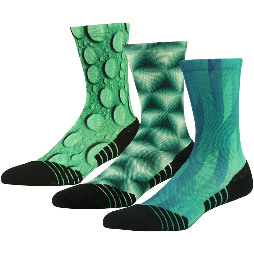 HUSO Mens Womens Novelty Quick Wicking Outdoor Hiking Cushion Crew Socks Gift for Mom 3 Pairs (Green, L/XL)