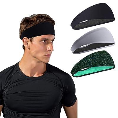 Mens Women Sports Headband Moisture Wicking Workout Sweatbands for Running Yoga