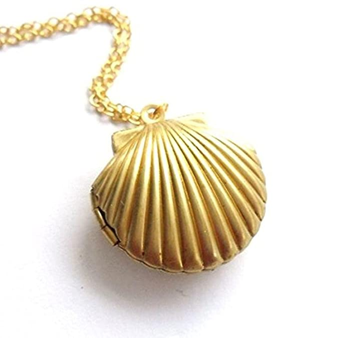 Tonsee Cute Little Sea Shell Mermaid Locket Pendant Necklace Fashion Lady's Gift lkMKH0Zl4S