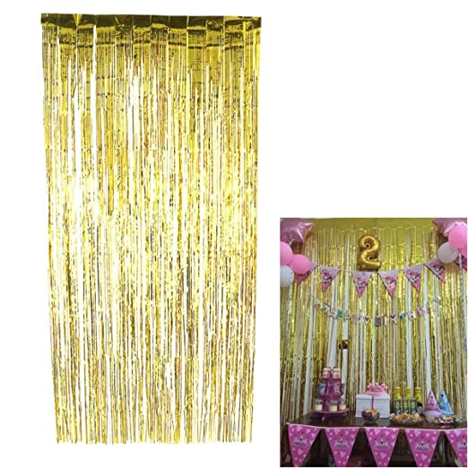 Lcjtaifu Cortina Lámina metálica Tinsel Fringe Curtain Gold ...