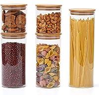 EZOWare Set van 5 Glazen Voorraadpotten, Levensmiddelen Voedsel Opslag Container van Borosilicaat Glazen met Bamboe…