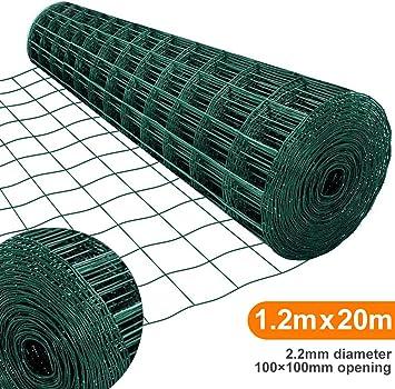 Amagabeli 1.2M X 20M Malla de Alambre Cuadrada Verde - RAL6005 Malla Tamaño 100 x 100 mm Rollo de Malla de Alambre Valla Jardín Alambrada HC04: Amazon.es: Bricolaje y herramientas