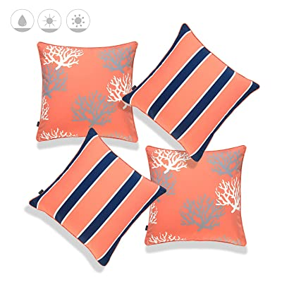 """Hofdeco Beach Nautical Indoor Outdoor Pillow Cover ONLY, Water UV Resistant for Patio Lounge Sofa, Coral Navy Living Coral Stripes, 18""""x18"""", Set of 4 : Garden & Outdoor"""