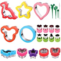 18pcs Sandwiches Cutters set, Mickey Mouse & Dinosaur & Heart & Star Shapes & Round Shapes etc Sandwiches Cookie Vegetable Fruit Cutters-Food Grade Stainless Steel Cookie Cutters Mold for Kids