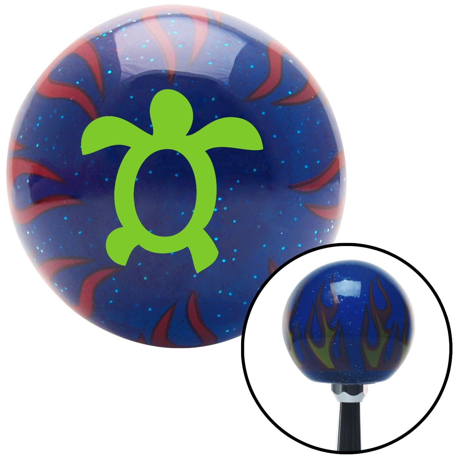 Green Simple Turtle American Shifter 249223 Blue Flame Metal Flake Shift Knob with M16 x 1.5 Insert