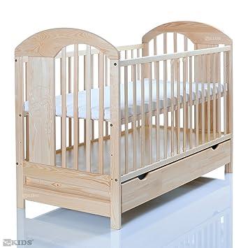 Kinderbett 120x60 cm wei/ß-grau mit 3-fach H/öhenverstellbarer Komfort Matratze und 3 Schlupfsprossen