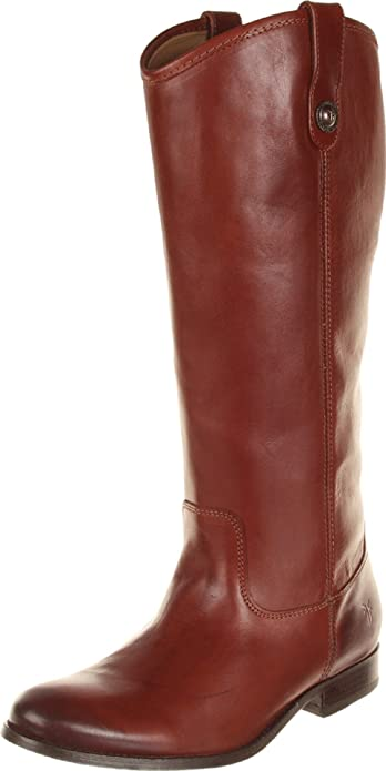FRYE Women's Melissa Button Boot, Cognac Wide Calf Smooth Vintage Leather,  ...