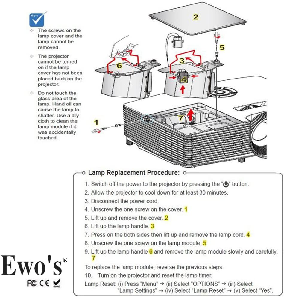 EWOS 5J.JEE05.001 Projector Bare Lamp Bulb for Benq HT2050 HT3050 HT2150ST HT4050 HT2050A MH530FHD Lamp Bulb Replacement