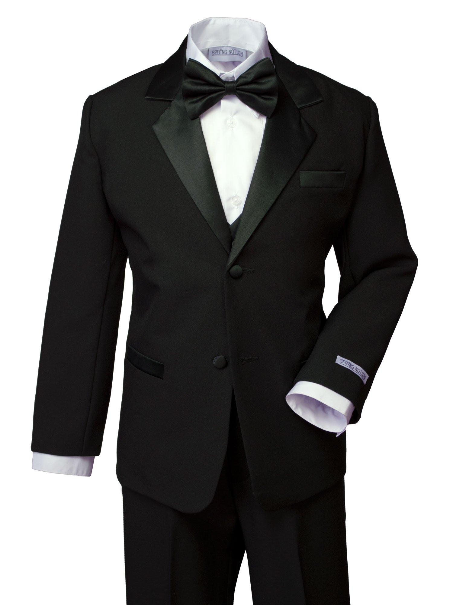 Spring Notion Boys' Classic Fit Tuxedo Set, No Tail 4T Black