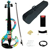Kinglos 4/4 Blue Pink Flower Colored Solid Wood Intermediate-A Electric / Silent Violin Kit with Ebony Fittings Full Size (DS