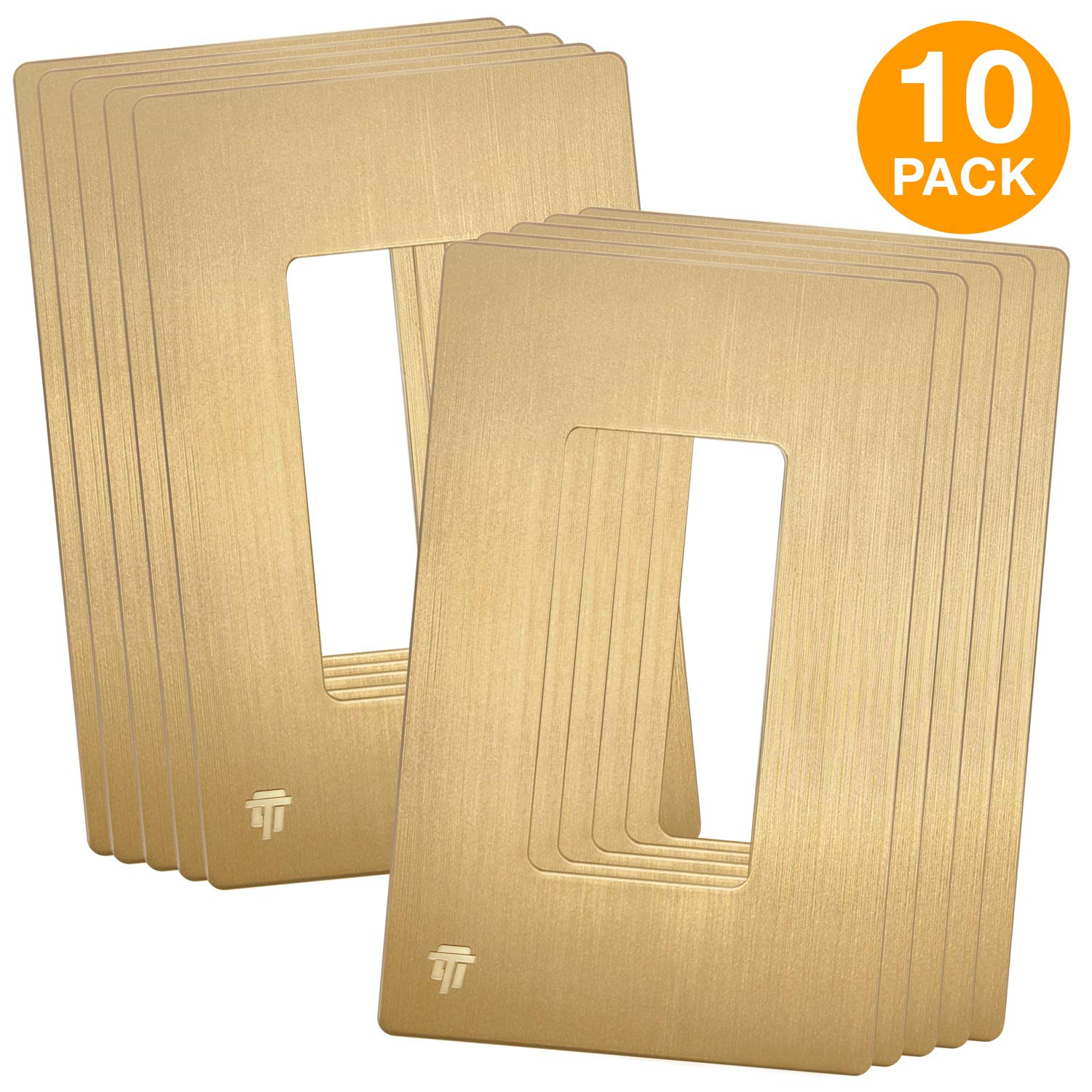 "ENERLITES Elite Series Brushed Decorator Screwless Wall Plate, Decorative Child Safe Cover, Standard Size 1-Gang 4.68"" H x 2.94"" W, Unbreakable Polycarbonate Thermoplastic, SI8831-BGD, Brushed Gold …"