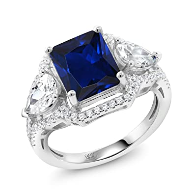 75420959e Amazon.com: Gem Stone King Emerald Cut Blue Simulated Sapphire 925 Sterling  Silver Ring (4.79 Cttw, Available in size 5, 6, 7, 8, 9): Jewelry