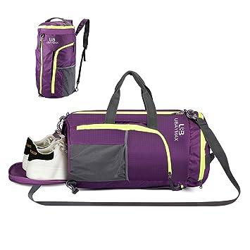 UBAYMAX 32L Bolsas de Deporte con Compartimento de Zapatos,Bolsas de Gimnasia Impermeable,Bolso de Viaje Fin de Semana,Travel Duffle Bag para ...