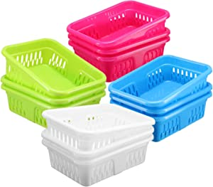 Bright Plastic Organizer Bins - 12 Pack –Small Colorful Storage Trays, Modular Baskets Holders for Classroom, Drawers, Shelves, Desktop, Closet, Playroom, Office, and More – 4 Colors - BPA Free