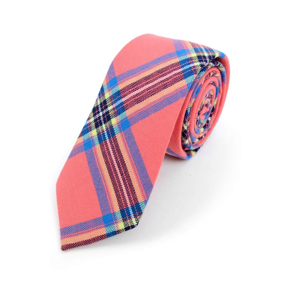 Men's Hipster 100% Cotton Plaid Designer Skinny Narrow Necktie Tie (Coral)