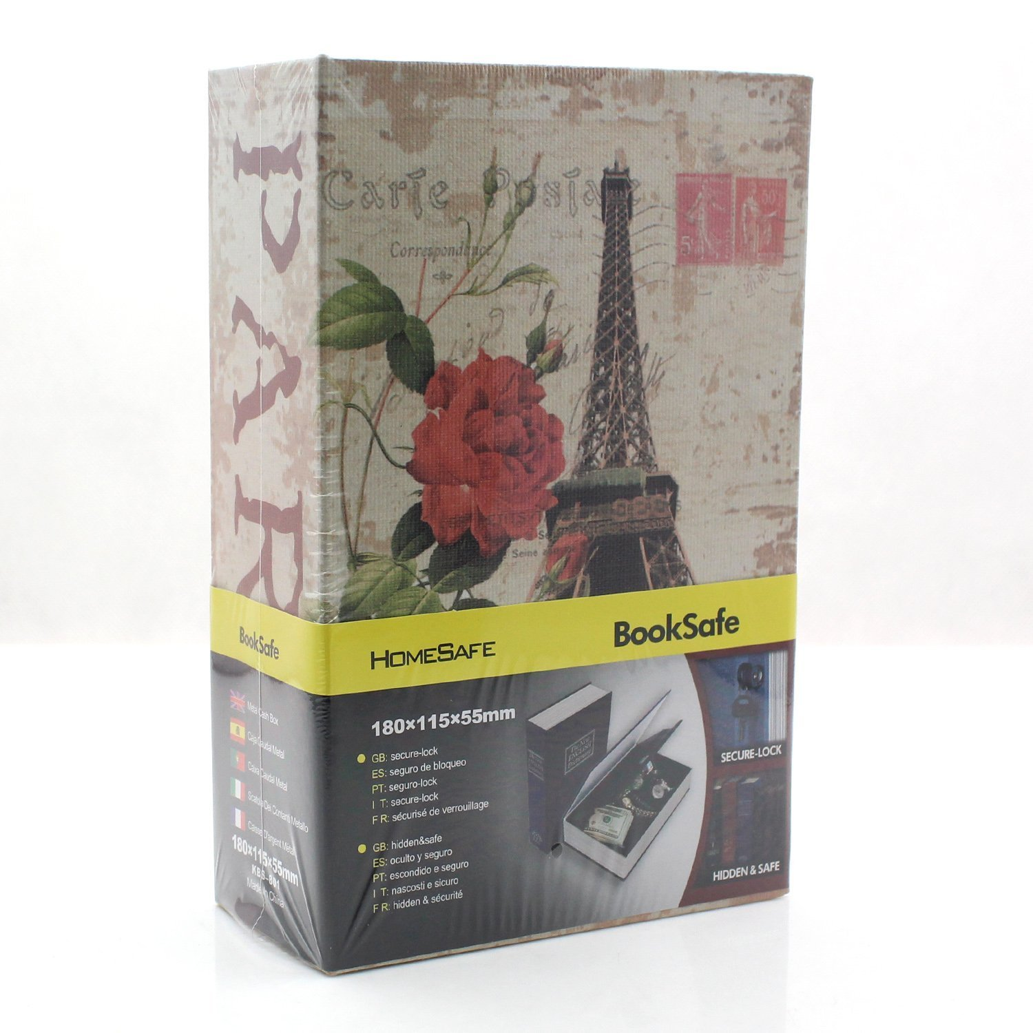 Book Safe - Riipoo M Size Eiffel Tower Pattern Book Safe, Diversion Hidden Book Safe With Inside Strong Metal Case and Key Lock, 180 x 115 x 55 mm