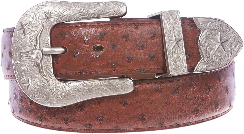 MONIQUE Men Ostrich Print Stitching-Edged Leather Western Buckle 1.5 Wide Belt
