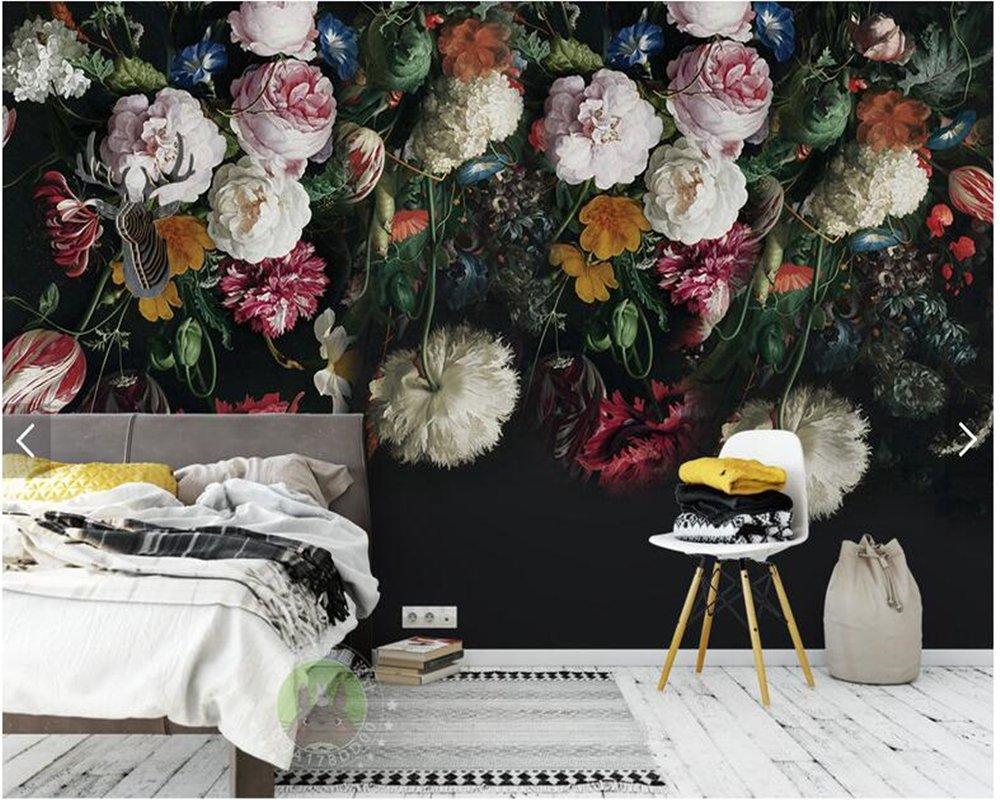 Yosot Tapete Benutzerdefinierte Hintergrundbilder Für Wände 3D-Vintage Handgemalten Floralen Wandbilder Für Wohnzimmer Schlafzimmer Tv-Kulisse Home Decor -200Cmx140Cm
