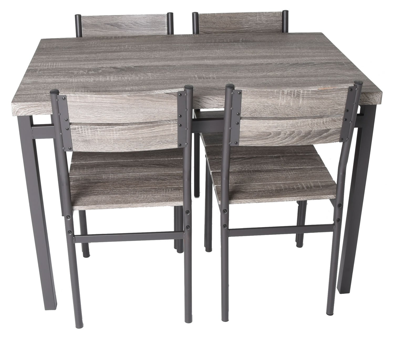 Zenvida 5 Piece Dining Set Rustic Grey Wooden Kitchen Table and 4 Chairs by Zenvida (Image #2)