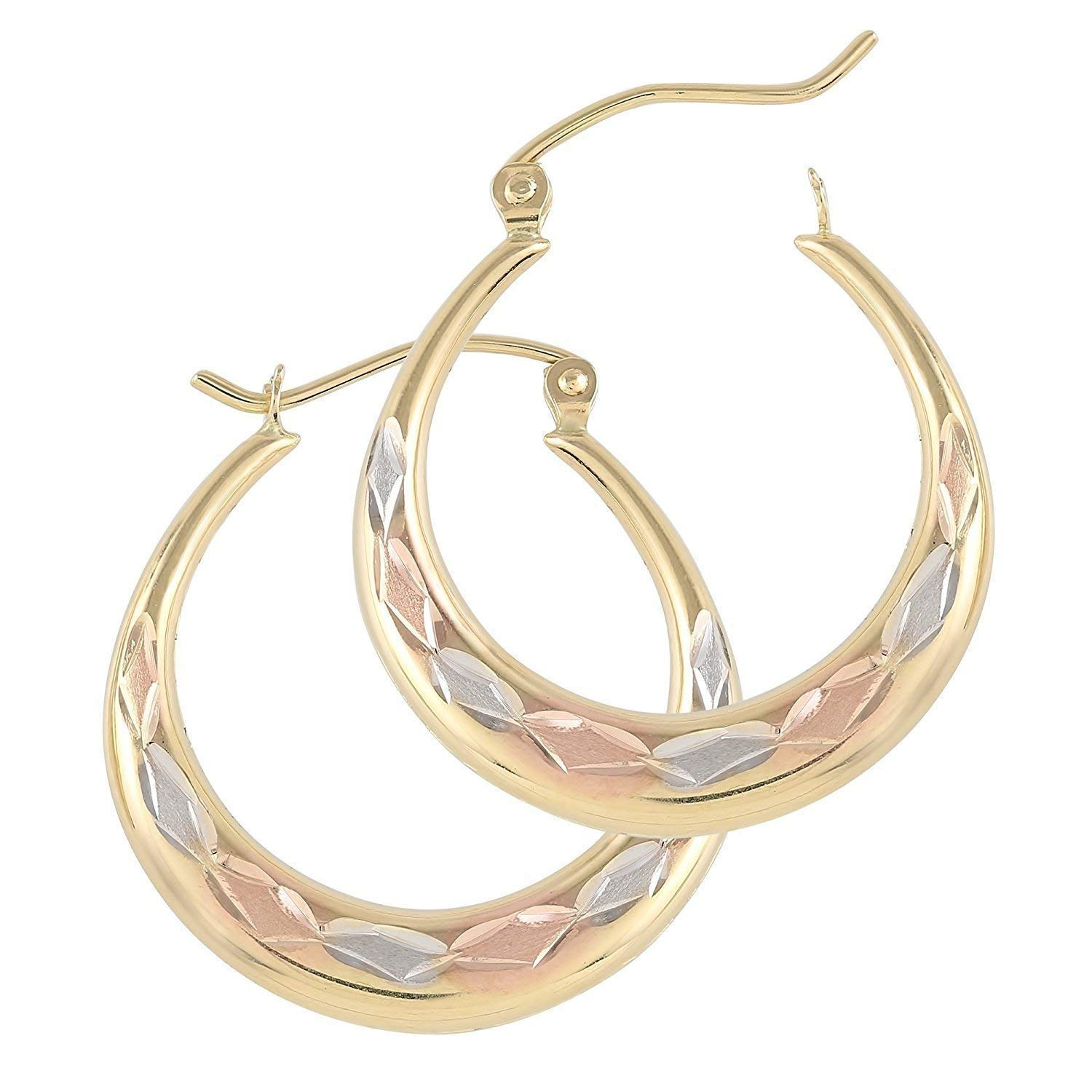 TousiAttar Tri Color Hoop Earrings - 14k Gold Earring for Women - Oval Shaped Unique Jewelry for Everyday (25 mm Diameter) 1inch