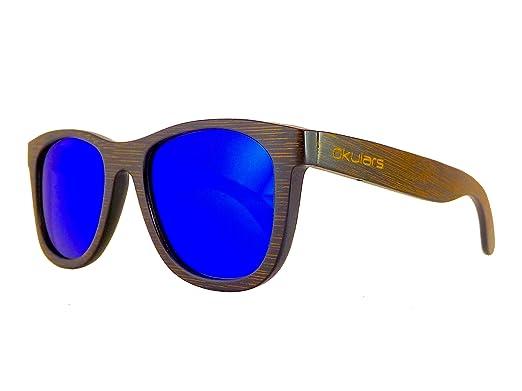 6139f7a1689e Okulars® Dark Bamboo Braun - Sonnenbrille aus Holz für Damen/Herren,  Handgefertigt - eine Größe - Polarisierte und Verspiegelte Gläser - UV400  ...