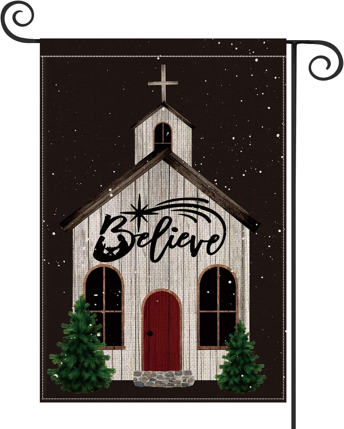 AVOIN Christmas Church Believe Garden Flag Vertical Double Sized, Winter Holiday Religious Yard Outdoor Decoration 12.5 x 18 Inch