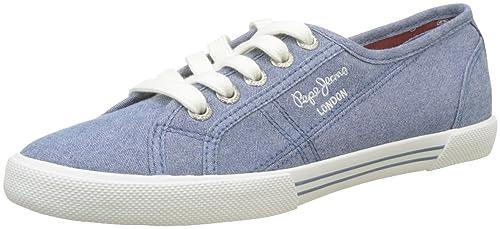 London Aberlady Eighty, Zapatillas para Mujer, Azul (Azzurro), 40 EU Pepe Jeans London