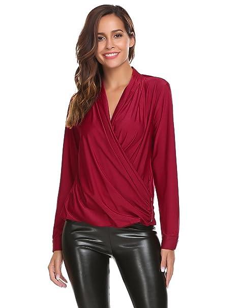 522b095938ac6b Zeagoo Women Comfy Casual V Neck Long Sleeves Clubwear Loose Tops Wrap  Front Surplice Shirt