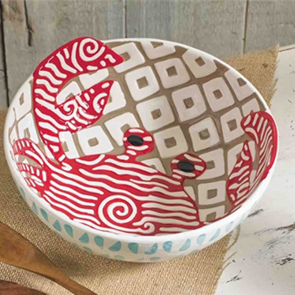 Christmas Tablescape Décor - Mud Pie Large red crab hand-painted ceramic salad bowl