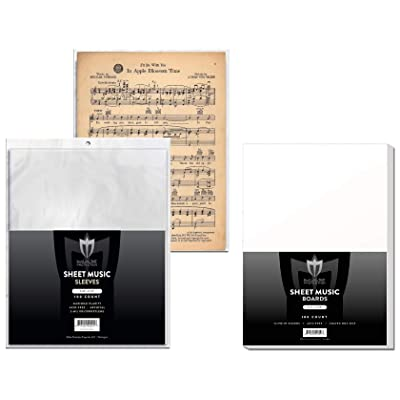 (100) Max Pro Sheet Music Sleeves and Backer Boards - Ultra Clear Protection - (Qty= 100 Sleeves and 100 Boards): Toys & Games