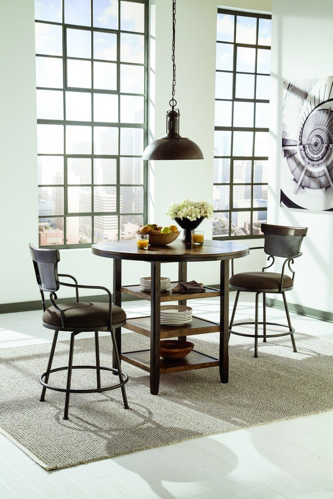 Height Of Dining Room Table what is the ideal dining table and chair height dining table height Amazoncom Ashley Furniture Signature Design Moriann Counter Height Dining Room Table Round With 3 Shelves Vintage Casual Dark Brown Kitchen