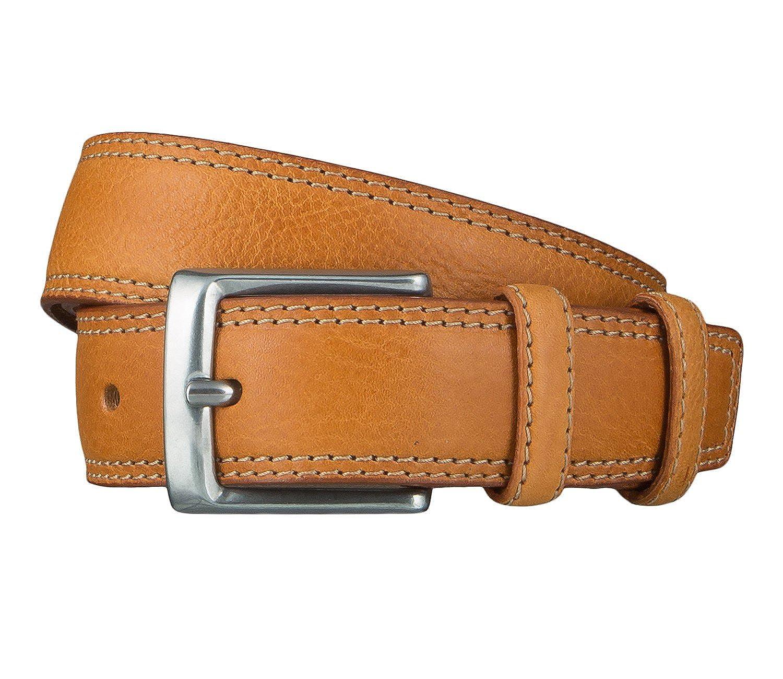 Lee Herren Gürtel Stitched Raised Belt Cognac