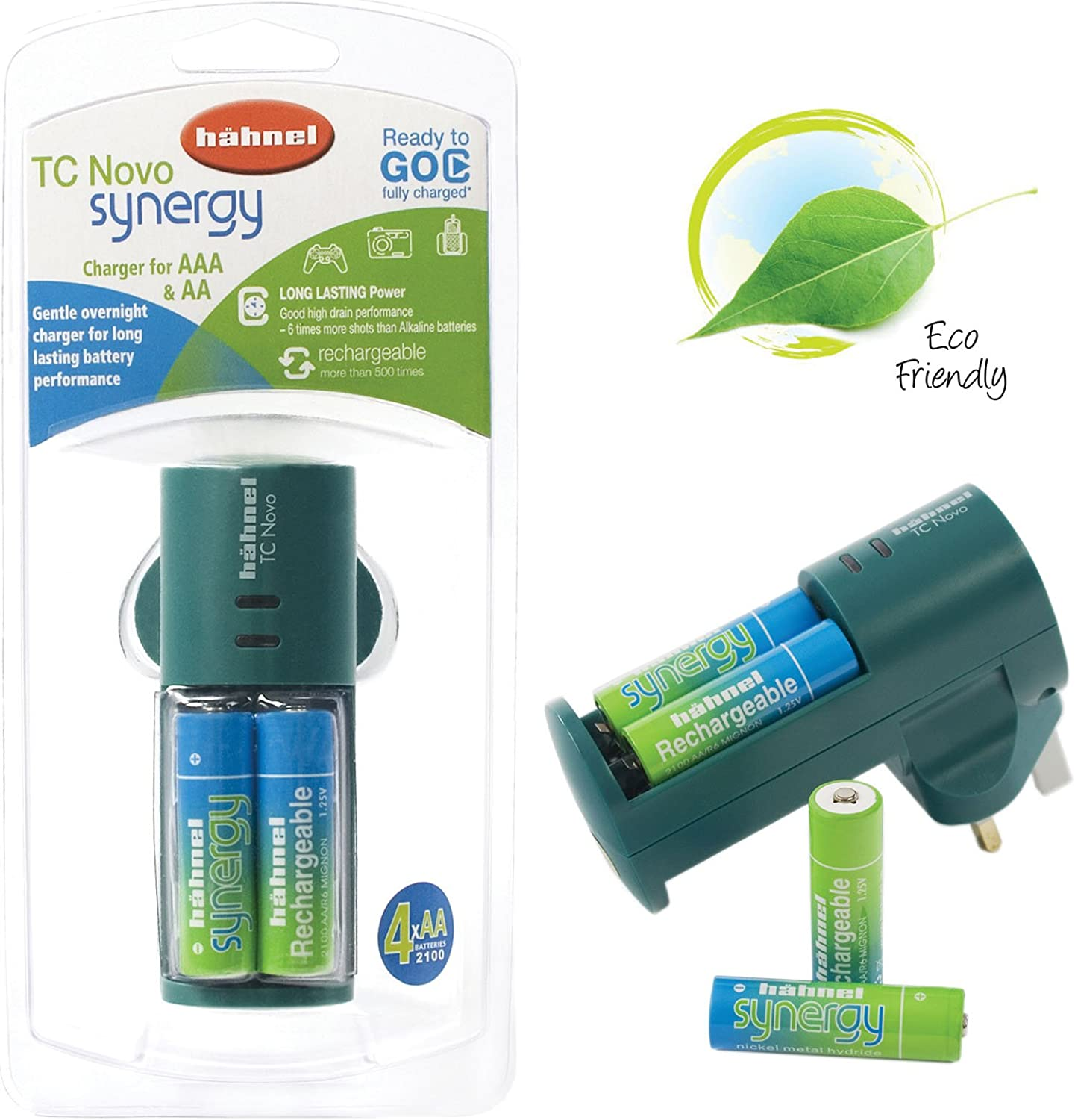 Hahnel TC Novo Synergy AA /& AAA Battery Charger with 4x AA Synargy 2100 mAh Rechargeable Batteries