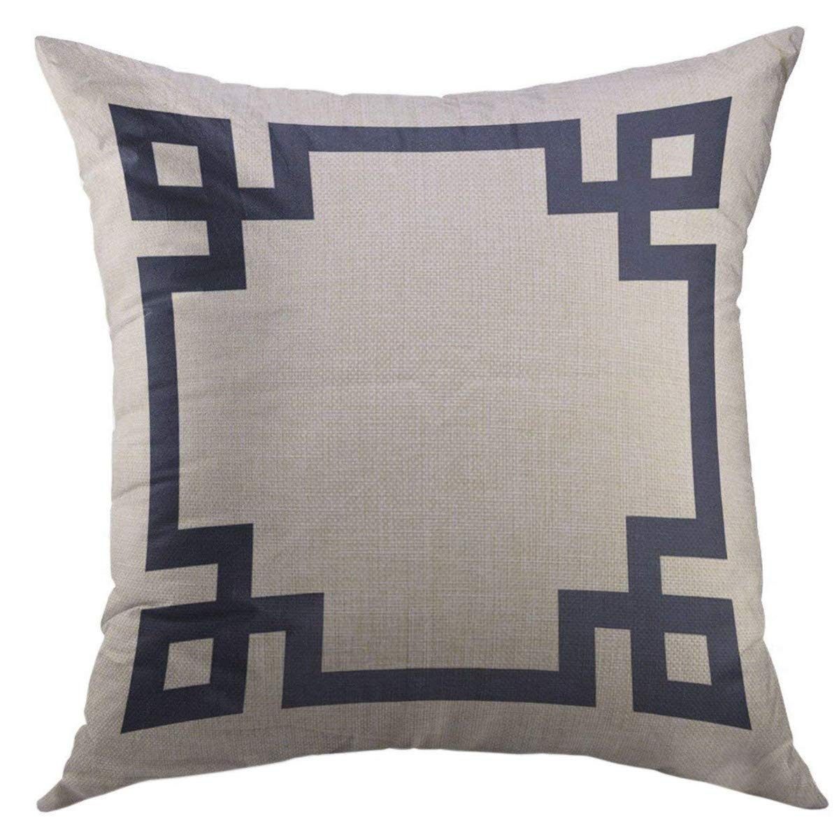 Mugod Decorative Throw Pillow Cover for Couch Sofa,Cute Preppy Navy Blue Greek Key Border Girly Home Decor Pillow case 18x18 Inch