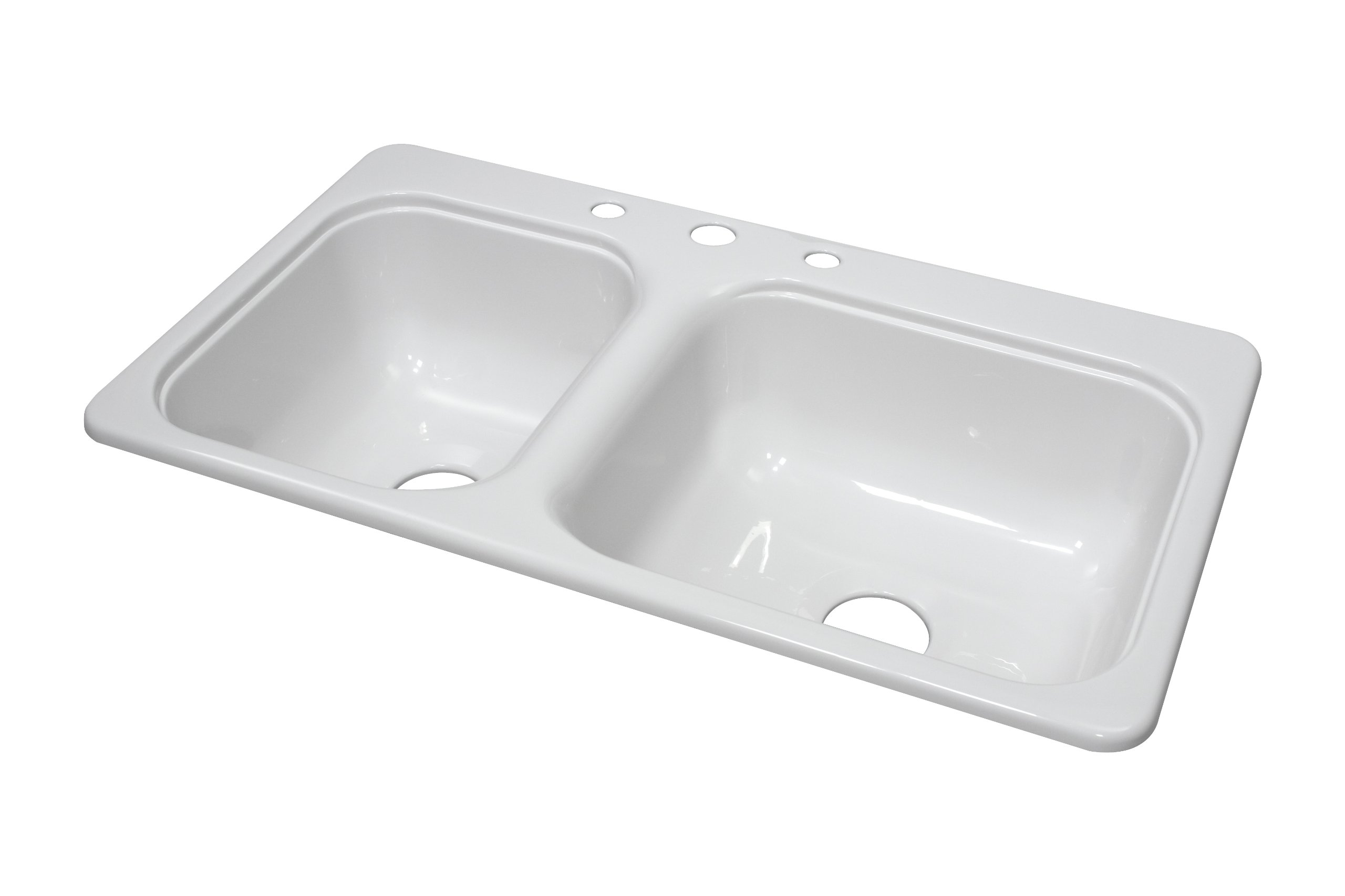 Lyons Industries DKS01CB-3.5 White 33-Inch by 19-Inch Manufactured/Mobile Home Acrylic 8-Inch Deep Kitchen Sink with Step Down Ledge, Three Hole by Lyons Industries