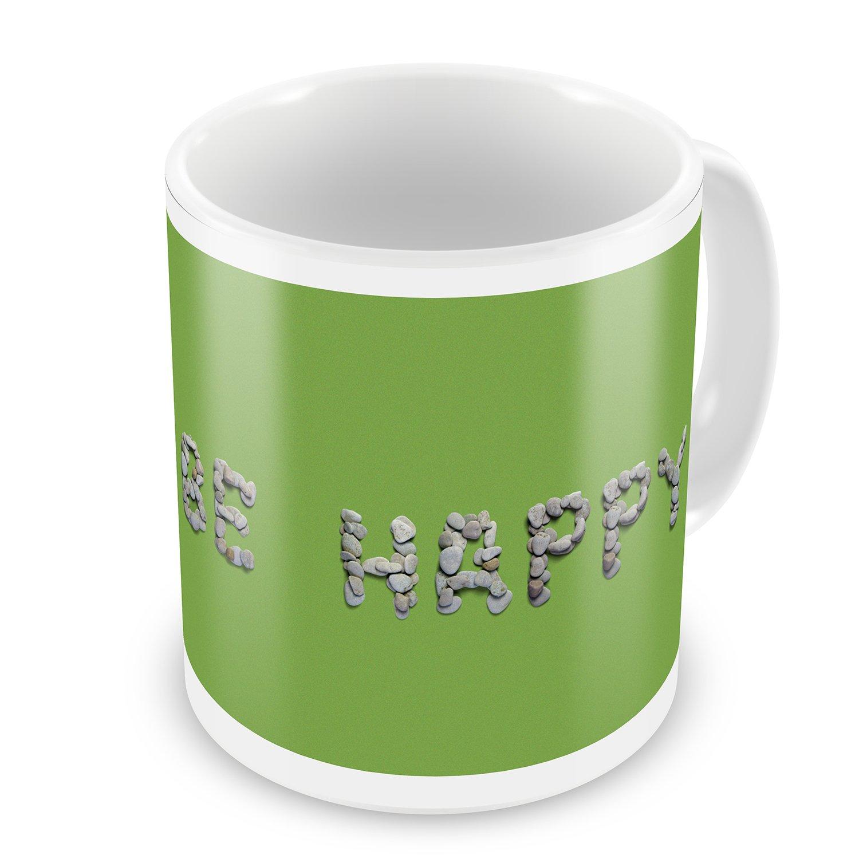 Coffee Mug Be Happy Spa Stones Rocks - NEONBLOND