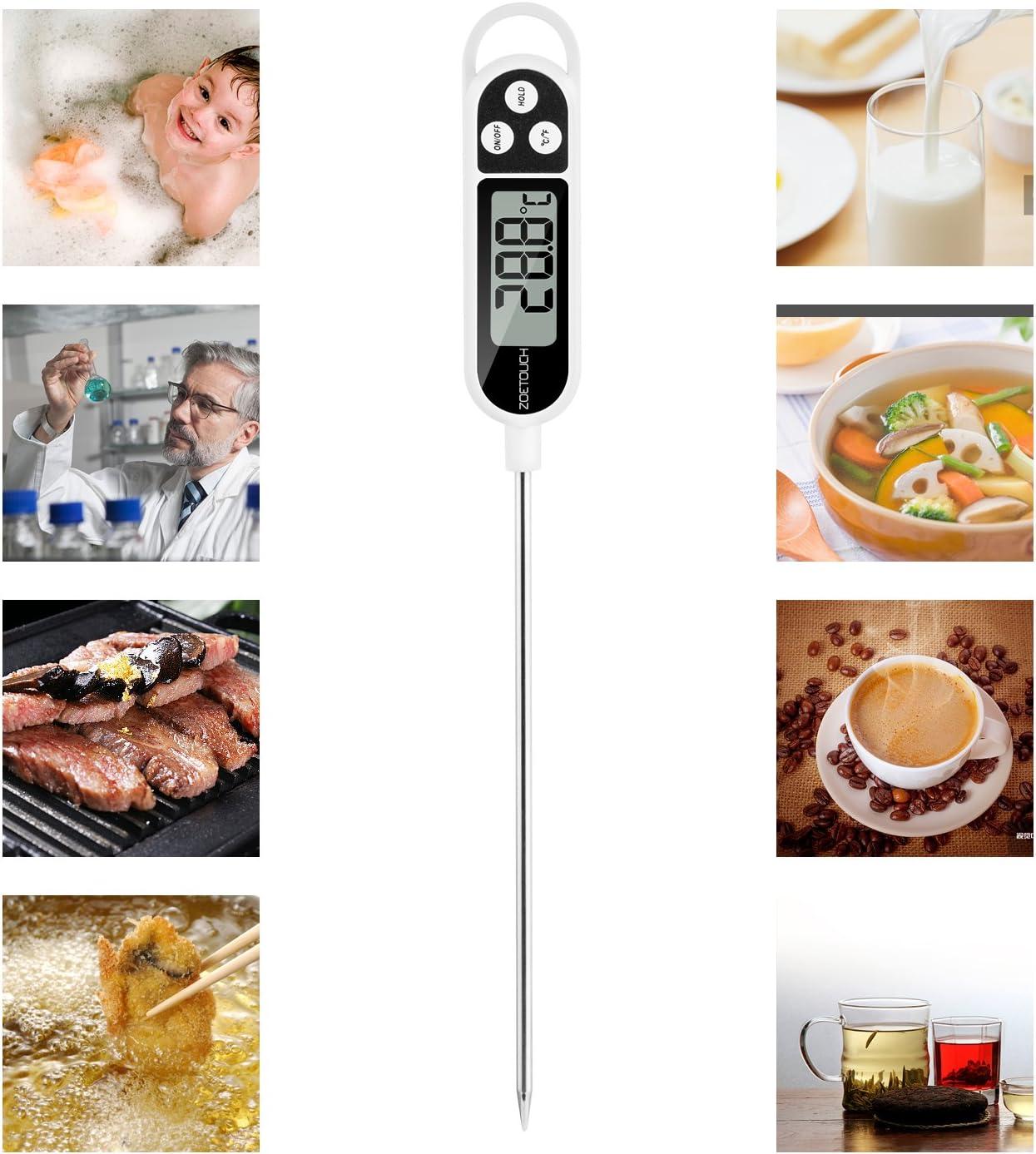 Termometro da Cucina,ZOETOUCH Termometro Alimenti Digitale Sonda Professionale con Lettura Istantanea Anti-Corrosione per Carne Griglia Barbecue Latte e Acqua del Bagno Manzo Pollo Schermo LCD