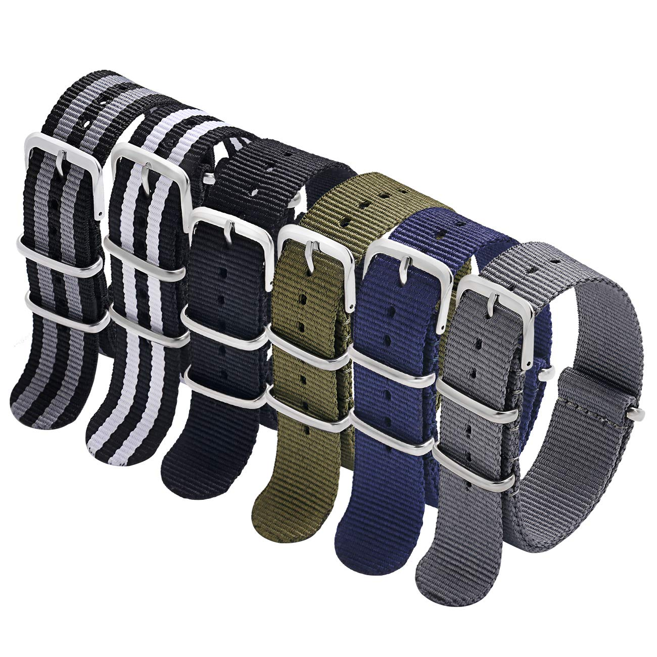 NATO Strap 6 Packs 18mm Watch Band Nylon Replacement Watch Straps for Men Women (Blue/White/Red+ Blue/White+Blue/Pink+Blue/Red+Blue/White/Green)