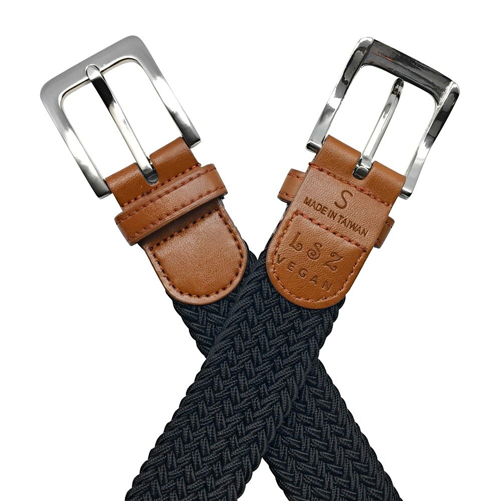 Leone StarZ VEGAN Collection - 35mm Unisex Elastic Braided Stretch Belt. Fasten-anywhere belt. Animal-Friendly Materials. Comfy and stylish (Large, Black)
