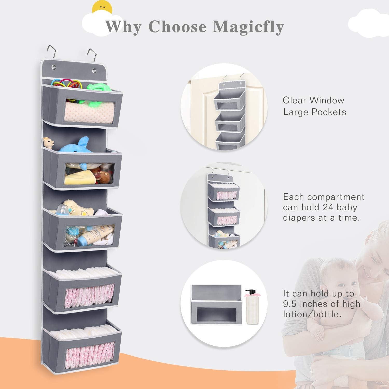 Magicfly Over the Door Organiser Over Door Storage Bedroom Wall Hanging Storage 5 Pocket with Clear Window for Pantry Baby Nursery Bathroom Closet Dorm Room Gray