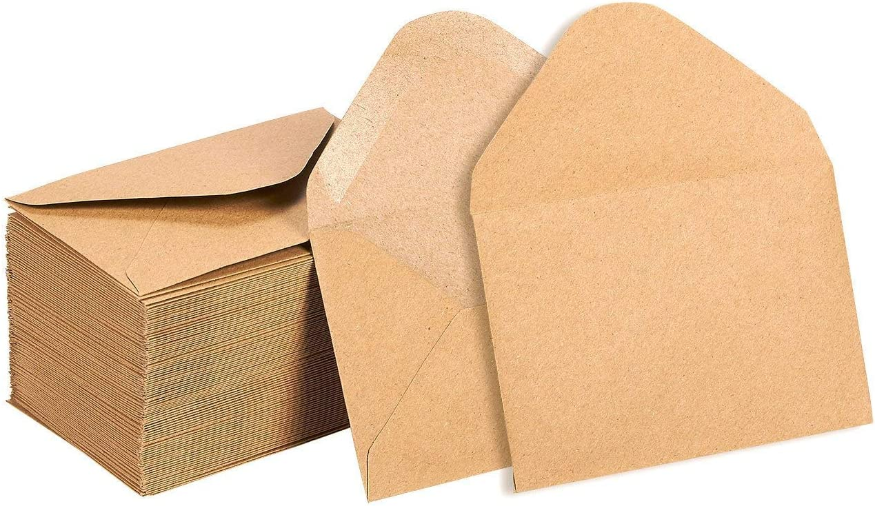 100 Count Value Pack Classic Flap Envelopes Business Card Envelopes 4 x 2.7 Inches 100 Pack Kraft Mini Envelopes Gift Card Envelopes Kraft