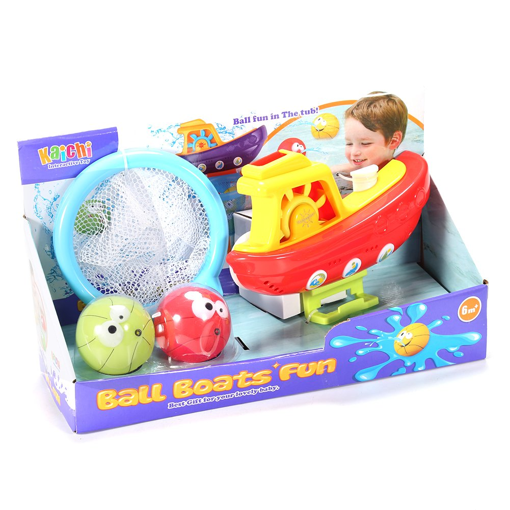 Amazon.com: FunsLane Baby Bath Toys Bundle with Balls and Boat for ...