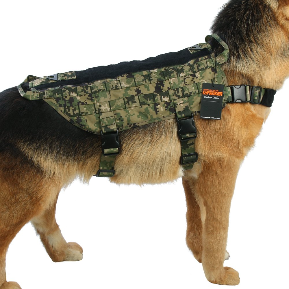AOR2 L AOR2 L Excellent Elite Spanker Tactical Dog Harness Nylon Molle Patrol Military Training Dog Vest Harness Small Medium and Large Dogs(AOR2-L)