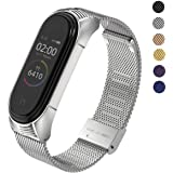 MIJOBS Metal Bands Compatible with Xiaomi Mi Band 3 /Mi Band 4 Strap for Women Men, Adjustable Stainless Steel Bracelet Mesh Wristband for Mi Fitness Tracker Smart Band