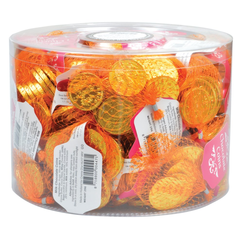 Creme d'Or Gold Net Milk Chocolate Coins in a Drum 60 x 25 g ...