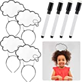 4 Pieces Thought Bubble Erase Board Headband Speech Word Bubble Headband Dry Erase Headband Accessory Party Headband with 4 M